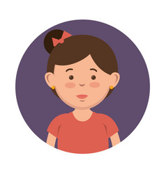 Brunette girl icon vector