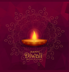 Burning diya happy diwali festival background vector
