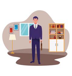 Businessman with briefcase worker cartoon vector