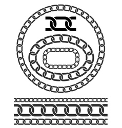 chain icons parts circles chains vector image