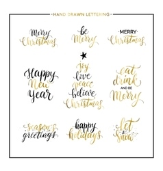Christmas and Happy New Year gold quotes vector image