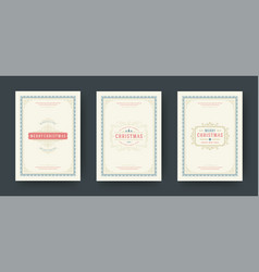 christmas greeting cards vintage typographic vector image
