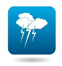 Clouds with lightnings icon simple style vector image