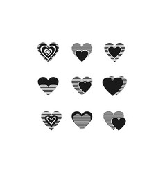 collection loves black and white logo vector image vector image