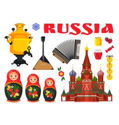 collection of russian culture color element vector image