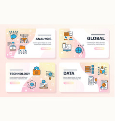 color linear icon set data outline vector image