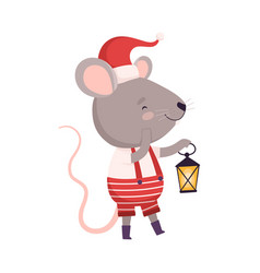 Cute mouse in santa hat standing with lantern vector