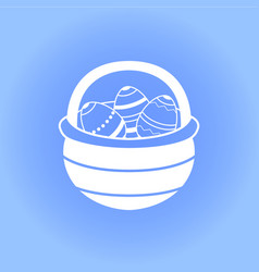 Easter basket with eggs icon vector
