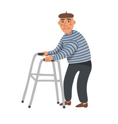 elderly man old man character with paddle walker vector image