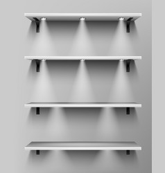 empty wooden shelves with spotlights vector image