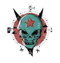 Evil skull with a star on his forehead gothic vector