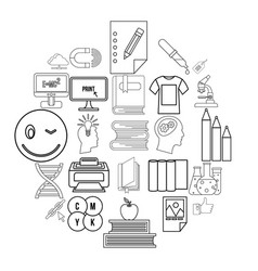 explore icons set outline style vector image