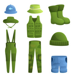 fisherman clothes icons set cartoon style vector image