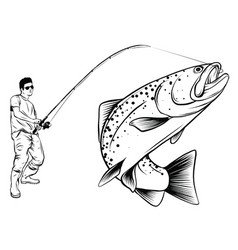 fishing design for a fisherman catches a vector image