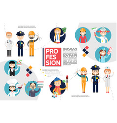 Flat professions infographic concept vector