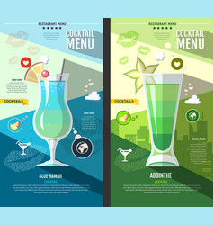 Flat style cocktail menu design vector