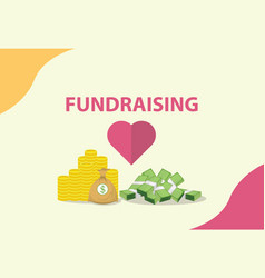 Fundraising concept with heart and money as vector