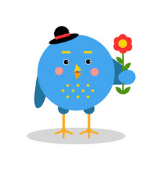 Funny cartoon bird character standing with flower vector
