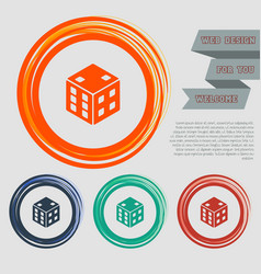 game cube icon on the red blue green orange vector image