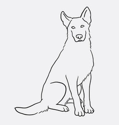 German shepherd sitting pet dog doodle style vector