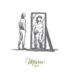 Girl mirror body distorted weight concept vector