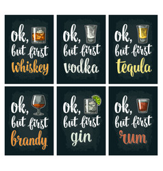 glass drink with brandy tequila gin vodka rum vector image