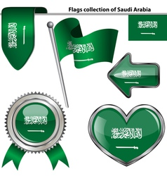 Glossy icons with Saudi Arabian flag vector