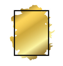 gold brush in black rectangle frame isolated white vector image