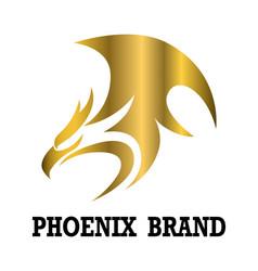 golden logo phoenix it shows power vector image