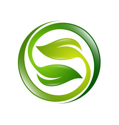 green leaves icon ecology sphere logo vector image