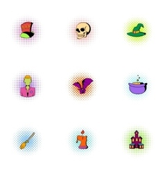 Halloween icons set pop-art style vector image