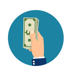 hand holding or showing money bills vector image