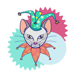 head cat in the hat jester circus cat abstract vector image