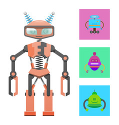 humanoid robot construction sample color banner vector image