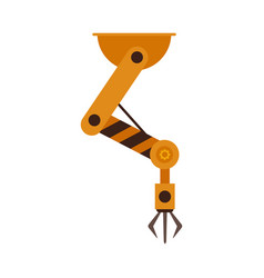 Industrial robotic arm in flat style isolated on vector
