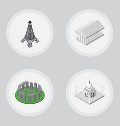 Isometric architecture set of paris england vector