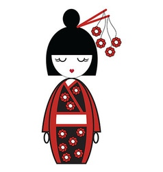 Japanese geisha doll with kimono with flowers and vector image