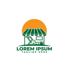 lawn mower store sign logo icon vector image