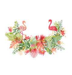 lets flamingle floral composition and exotic bird vector image