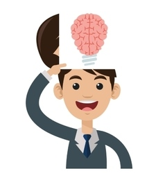 Lightbulb brain icon vector