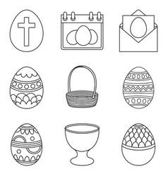 Line art black and white easter eggs set vector