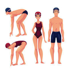 Male and female swimmers standing upright and vector