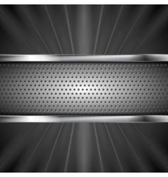 Metallic aluminum perforated banner and dark beams vector