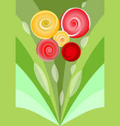 Modern flower bouquet with red and yellow roses vector
