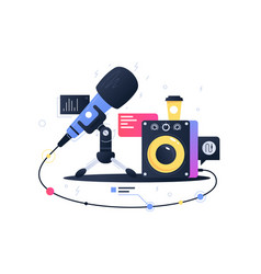 modern technology icon microphone connecting vector image