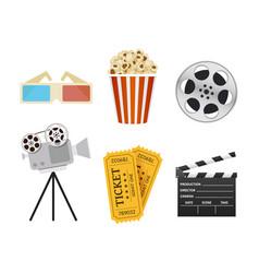 movie icons realistic style vector image