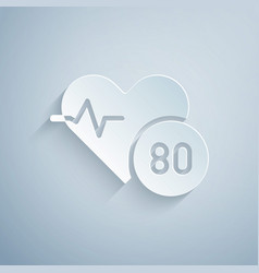 paper cut heart rate icon isolated on grey vector image