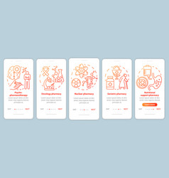 Pharmacy branch onboarding mobile app page screen vector