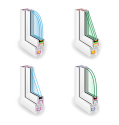 plastic window frame profile set energy efficient vector image