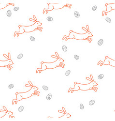 rabbit line seamless pattern vector image